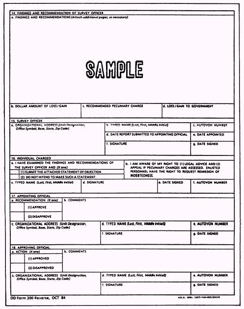 preparation of report of survey, dd form 200