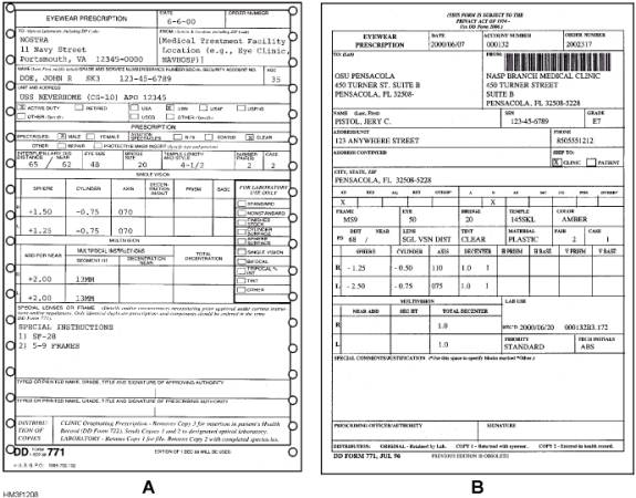 Adjunct health record forms and reports