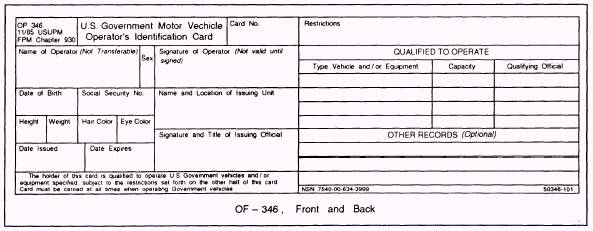 military drivers license form of 346