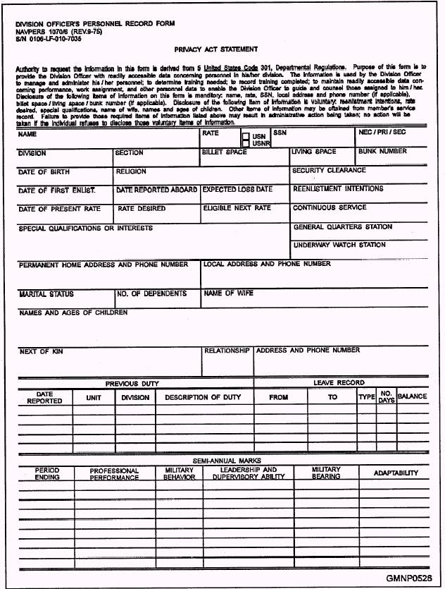 Division Officers Personnel Record Form Front