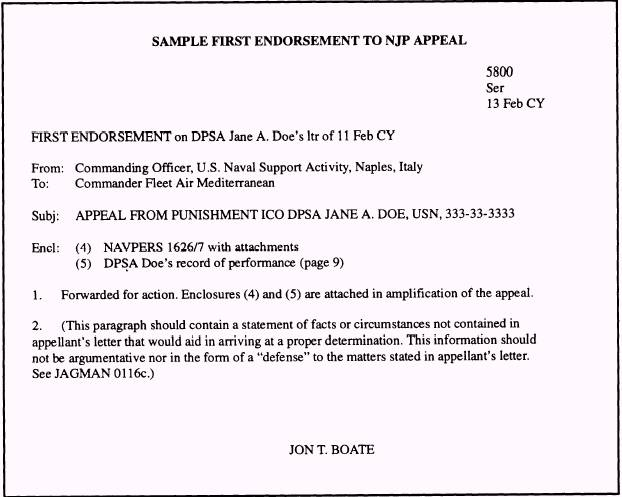 First Endorsement Letter Navy