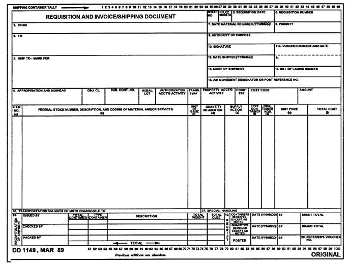 DD 1149 SHIPPING INVOICE